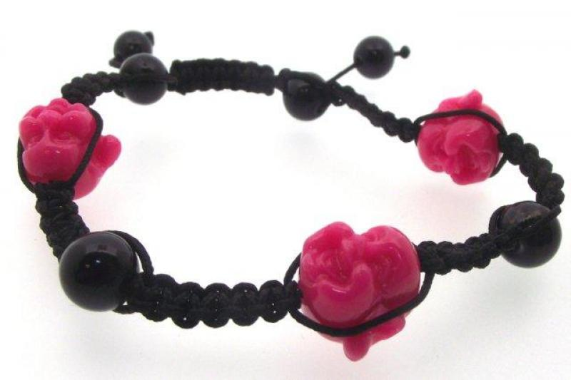 Bracelet with Three Pink Carved Buddha Heads